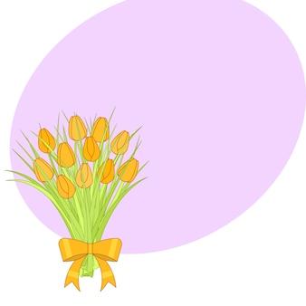 Bouquet de tulipes jaunes avec un arc.