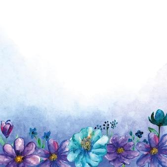 Bouquets angulaires de fleurs bleues avec fond aquarelle