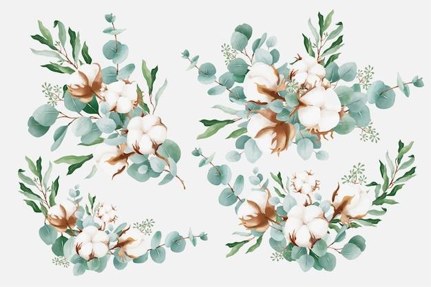 Bouquets d'aquarelle avec du coton et des branches d'eucalyptus