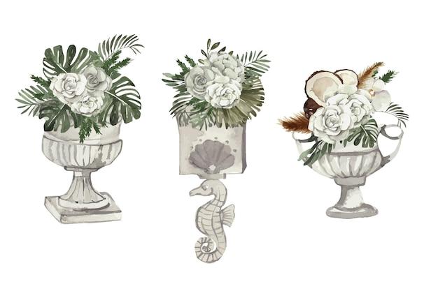 Bouquets aquarelles de fleurs tropicales dans des vases décor de mariage avec des fleurs douces