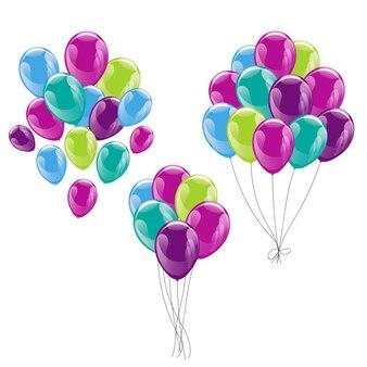 Bouquets de ballons colorés isolés