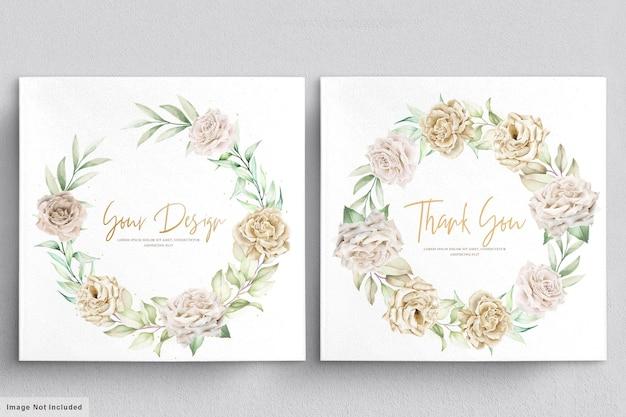 Bouquets de cartes de mariage roses blanches minimalistes