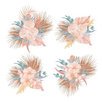 Bouquets De Fleurs Boho Vecteur Premium