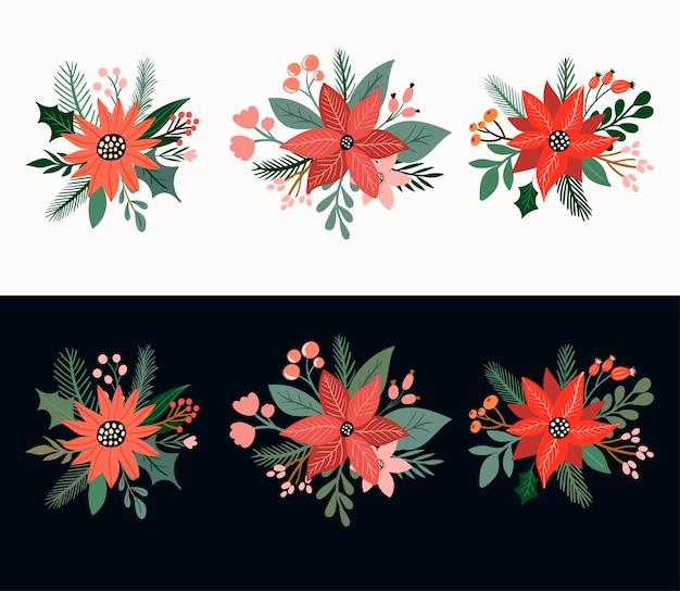 Bouquets de fleurs décoratifs de noël éléments isolés arrangements de fleurs et de plantes de saison