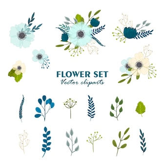 Bouquets de fleurs mignons, ensemble de fleurs clipart