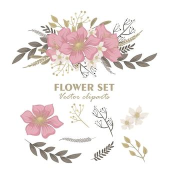 Bouquets de fleurs mignons, ensemble de fleurs roses clipart