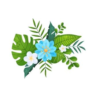 Bouquets de fleurs tropicales et de feuilles isolées sur blanc