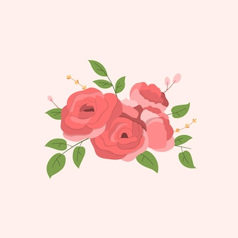 Bouquets floraux de roses rouges pour la décoration au design plat