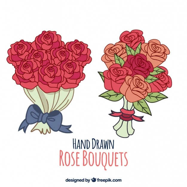 Bouquets de roses dessinés à la main