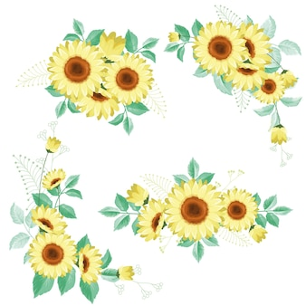 Bouquets de tournesol et de feuilles