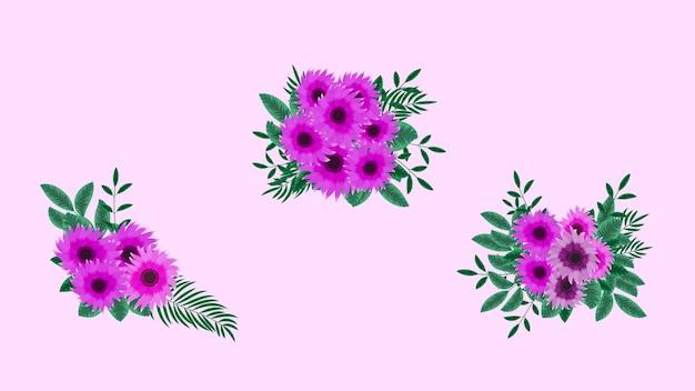 Bouquets de vecteur avec des fleurs jaunes de tournesols avec des branches d'arbres