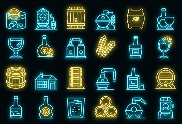 Bourbon icons set vector néon