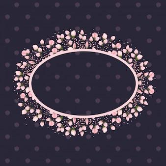 Bourgeons de fleurs peinture autour d'un cadre ovale