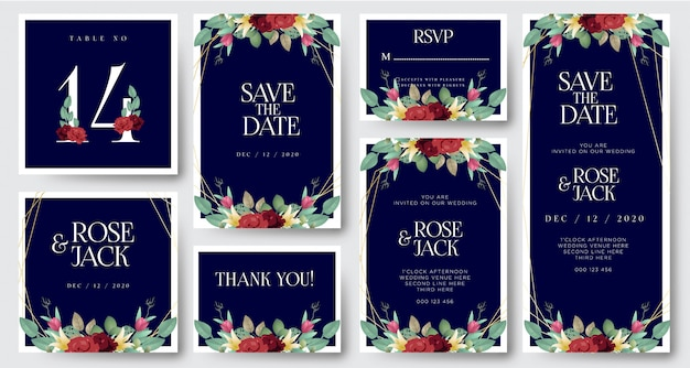 Bourgogne blush aquarelle floral carte d'invitation de mariage