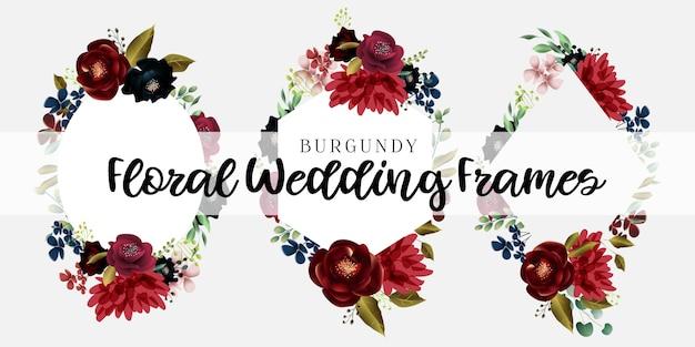 Bourgogne et cadre de mariage floral blush