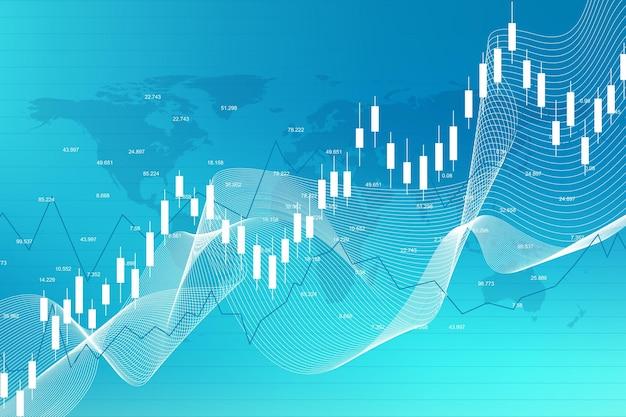 Bourse et bourse. graphique de graphique de bâton de bougie d'affaires de commerce d'investissement de marché boursier. données boursières. point haussier, tendance du graphique. illustration vectorielle.