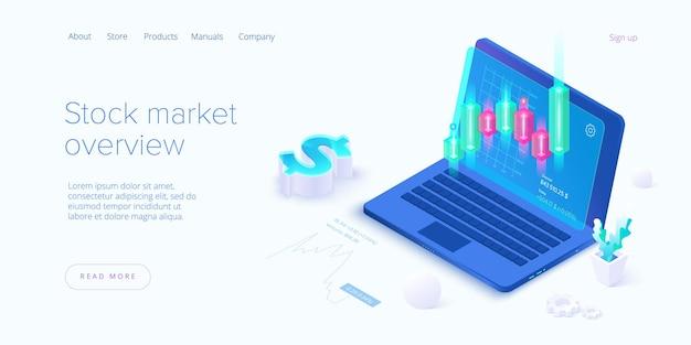 Bourse en conception isométrique. marché commercial.