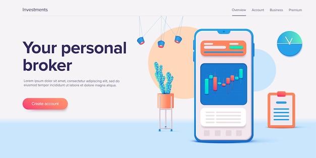 Bourse. marché de trading ou application mobile d'investissement.