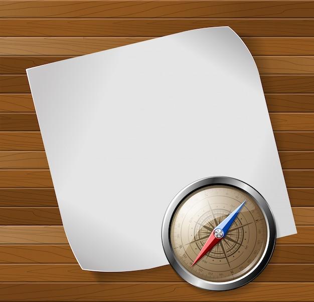 Boussole en acier détaillée et feuille de papier blanc sur fond en bois. illustration vectorielle