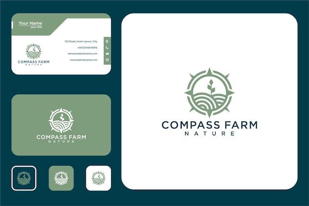 Boussole avec conception de logo de ferme et carte de visite