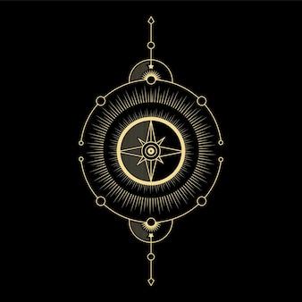 Boussole direction vague du soleil et géométrie sacrée pour le tatouage de lecteur de carte de tarot de guidage spirituel