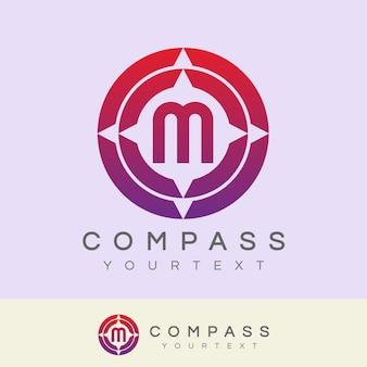Boussole initiale lettre m logo design