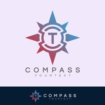 Boussole initiale lettre t logo design