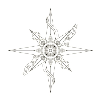 Boussole nautique rétro. signe de vecteur ancien nautique antique.