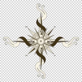 Boussole nautique vintage. ancien élément de design pour thème marin et héraldique sur fond transparent.