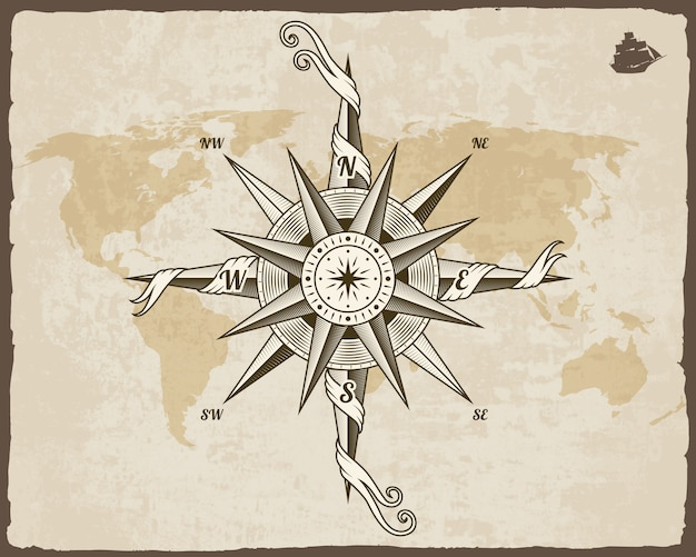 Boussole nautique vintage. ancienne carte du monde sur la texture du papier avec cadre de bordure grunge. vent rose