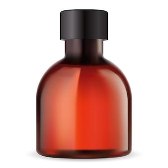 Bouteille ambrée pour huile essentielle. flacon médical rond