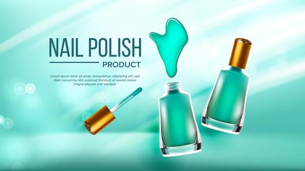 Bouteille de bannière cosmétique vernis à ongles vert