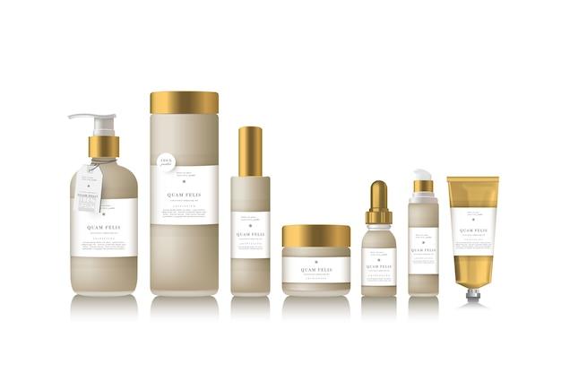 Bouteille beige réaliste pour huile essentielle et tube ou récipient. pompe à savon. flacon compte-gouttes cosmétique. autocollant d'étiquette