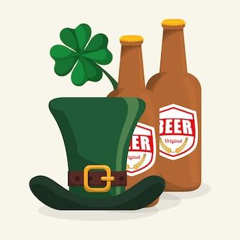 Bouteille, bière, chapeau, trèfle, st patrick, jour, conception