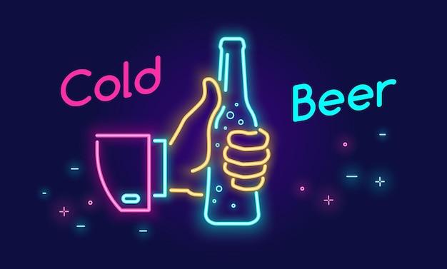 Bouteille de bière froide et icône de symbole de pouce vers le haut dans le style de lumière au néon sur le néon lumineux de vecteur de fond foncé