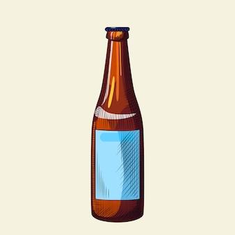 Bouteille de bière légère isolée sur fond clair. modèle de bouteille de bière dessiné à la main.