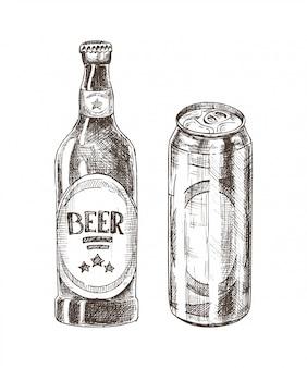 Bouteille de bière et peut isolé