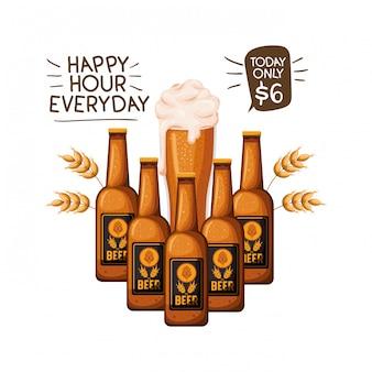 Bouteille de bière et verre icône isolé