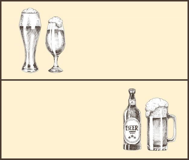 Bouteille de bière, verre et tasse page d'atterrissage vintage