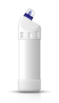 Bouteille blanche de liquide de toilette. ustensiles de cuisine et produits de nettoyage. illustration isolée sur blanc.