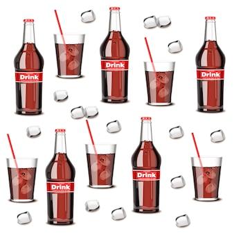 Bouteille de boisson gazeuse et motif en verre