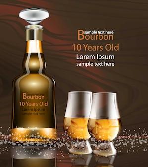 Bouteille de bourbon et des verres d'emballage de produit réaliste simulent