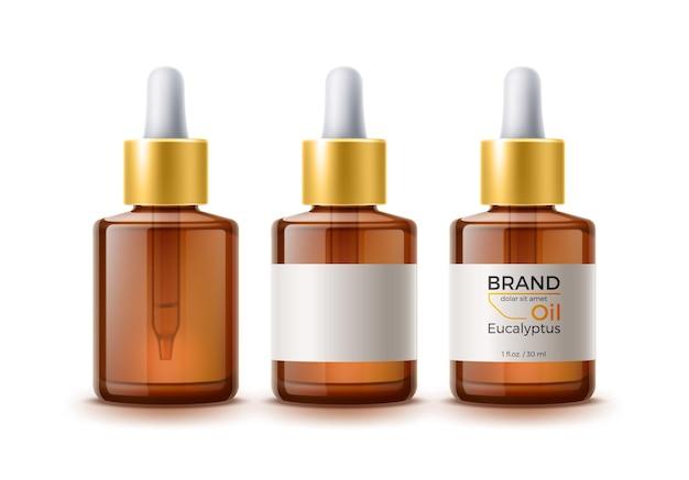 Bouteille de bouteilles vierges marron réaliste avec étiquette et pipette