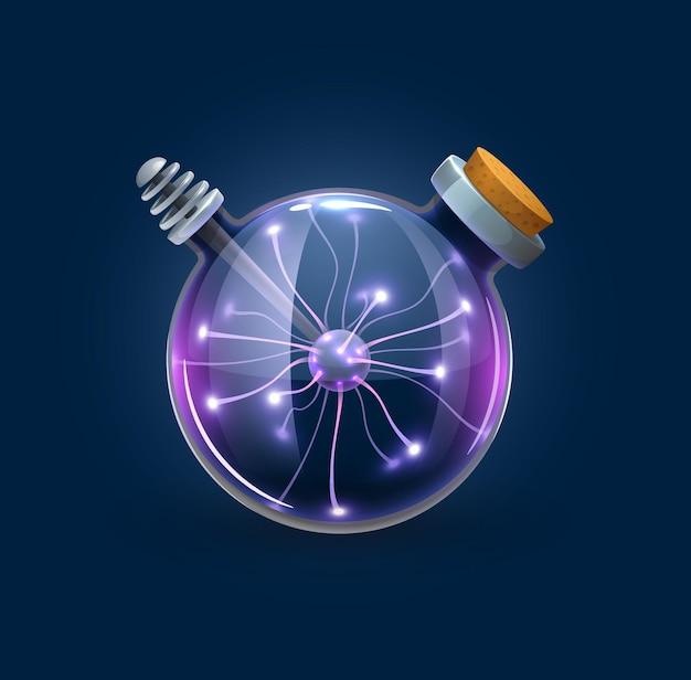Bouteille à bulles de sorcellerie avec décharges de foudre