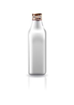 Bouteille carrée blanche cosmétique blanche avec couvercle à vis en cuivre.