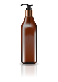 Bouteille carrée cosmétique brune vide avec tête de pompe pour produit de beauté