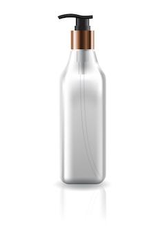 Bouteille carrée transparente cosmétique vide avec tête de pompe.