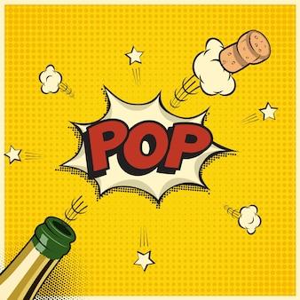 Bouteille de champagne avec bouchon volant et mot pop