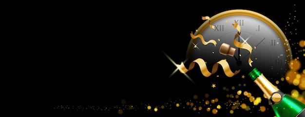 Bouteille de champagne avec fond de noël ou du nouvel an
