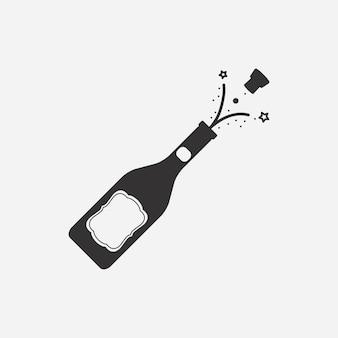 Bouteille de champagne avec illustration vectorielle de liège.
